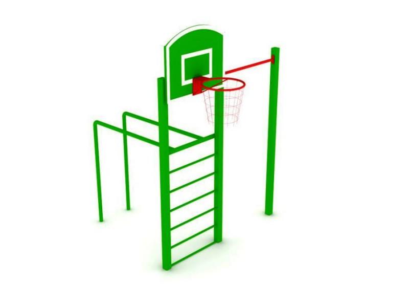 Шведская стенка с баскетбольным кольцом С-011.4, Уличные тренажеры Мастер (Россия), - Сургут